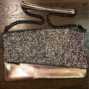 Gold glitter handbag